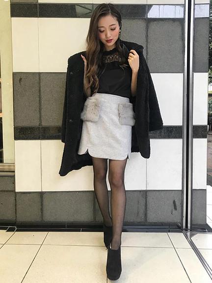 ラビットファー台形スカート