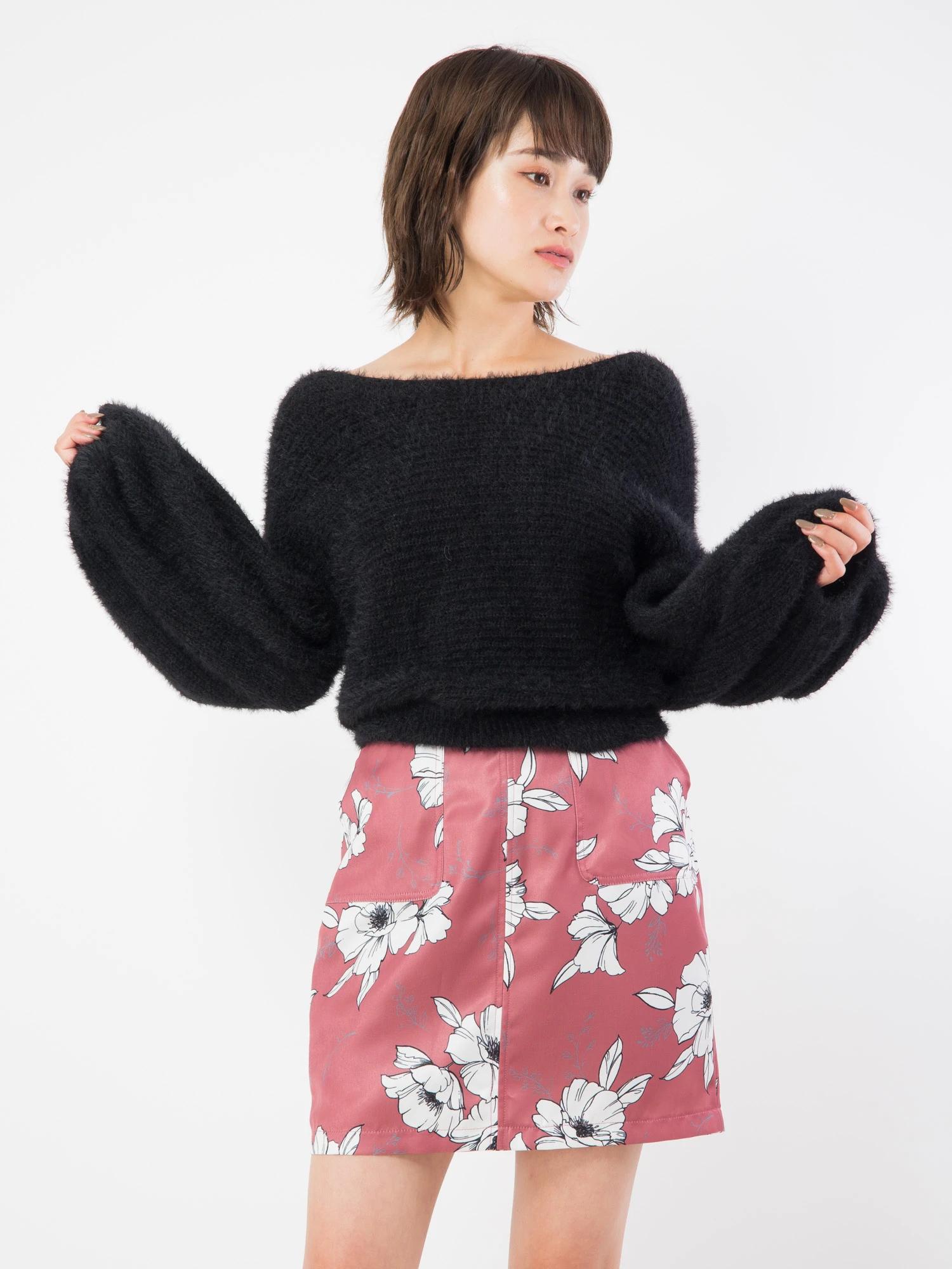 エッジング花柄台形スカート