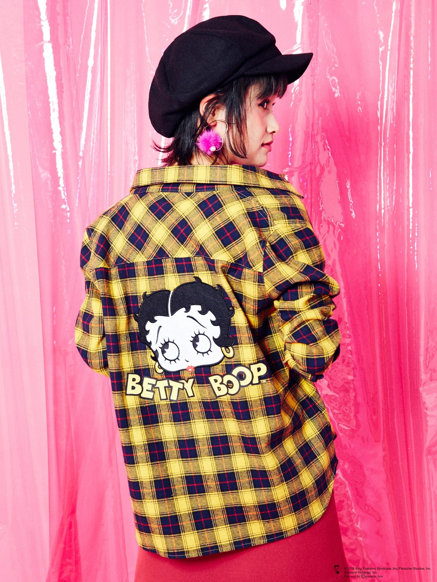 【Betty Boop™】チェックシャツ