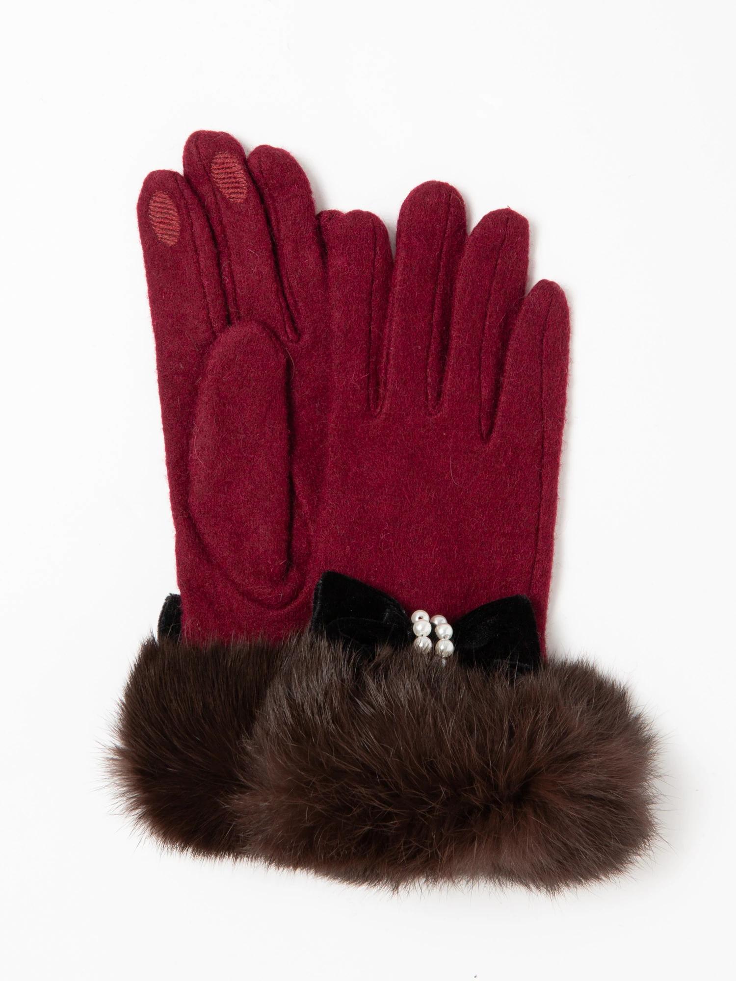 パールリボン毛付き手袋