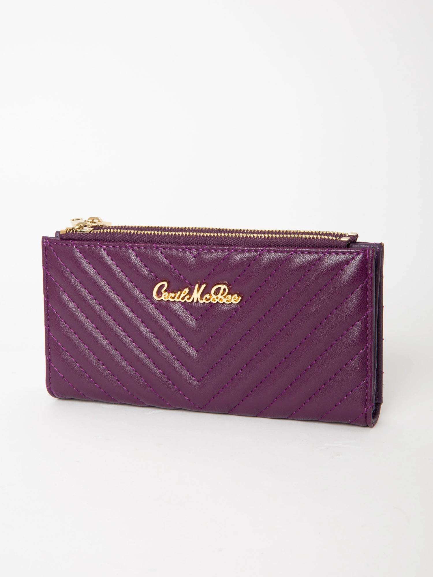 V型キルティング長財布
