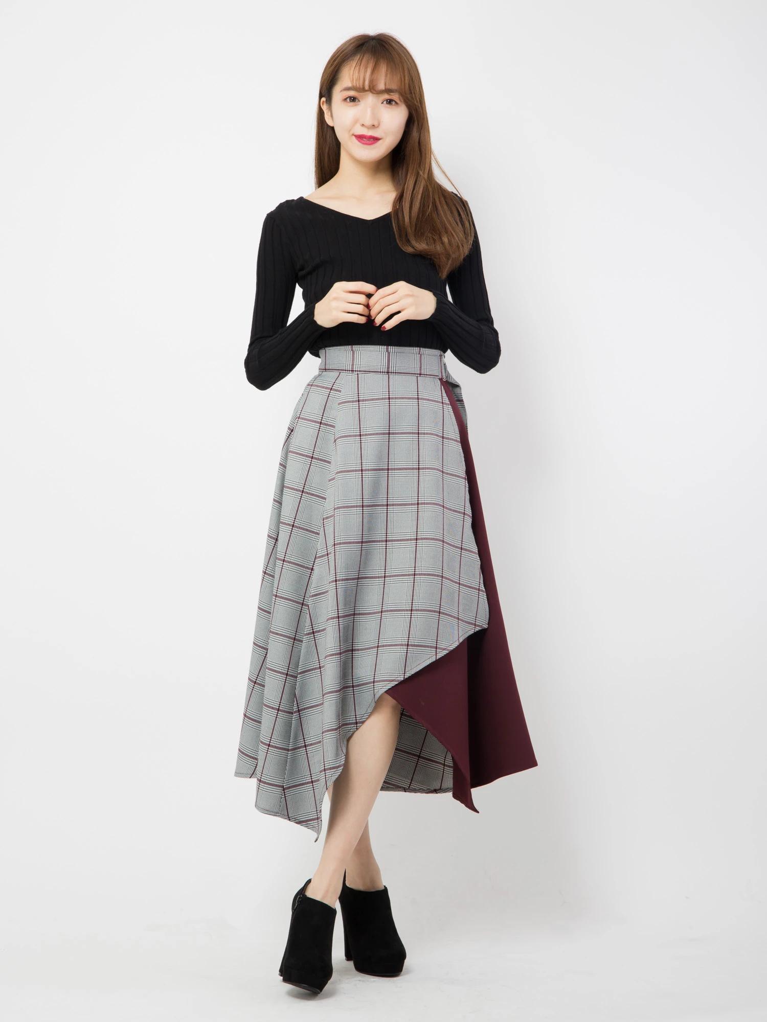 チェックブロッキングスカート