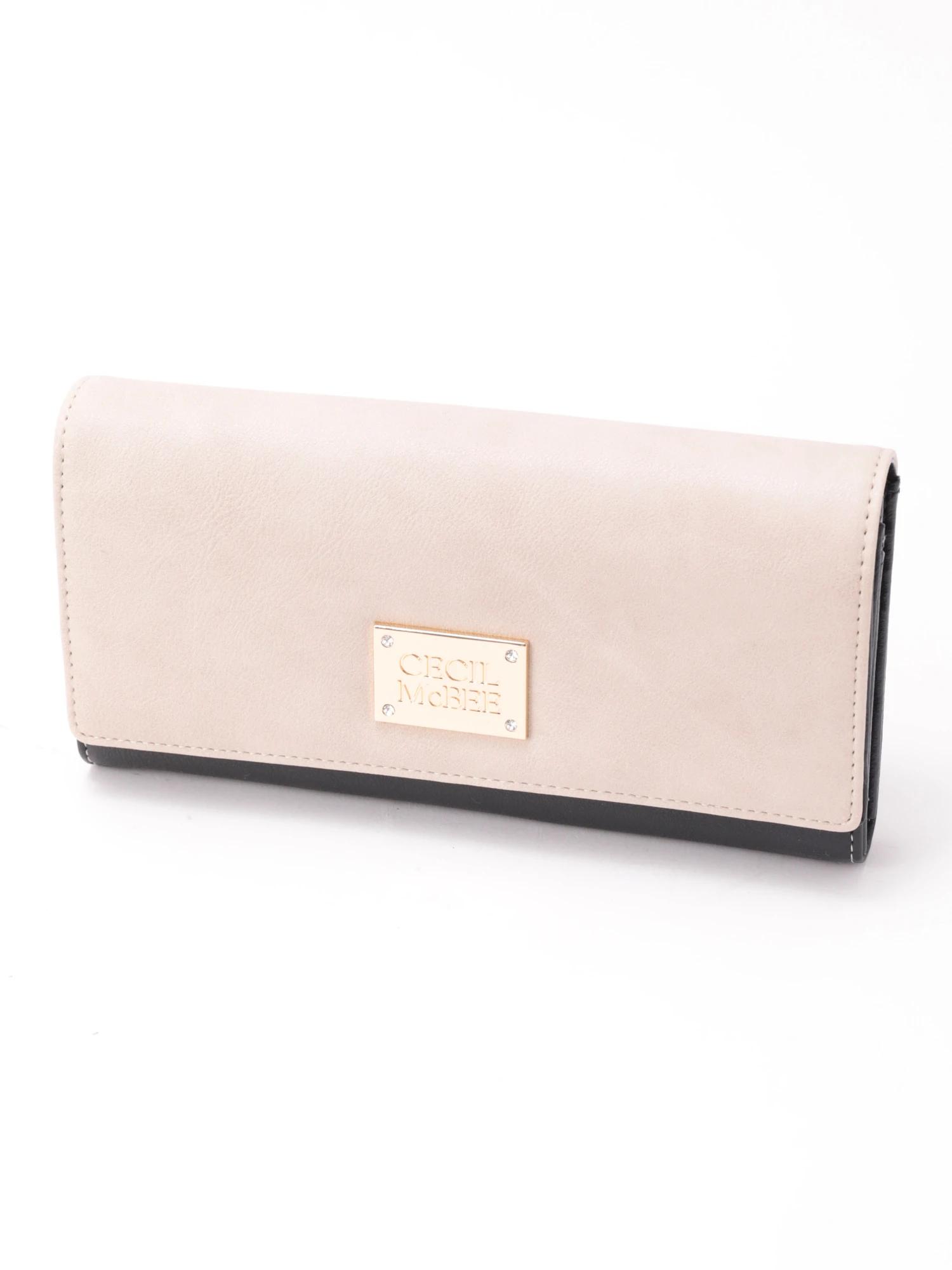 四角プレート二つ折り長財布