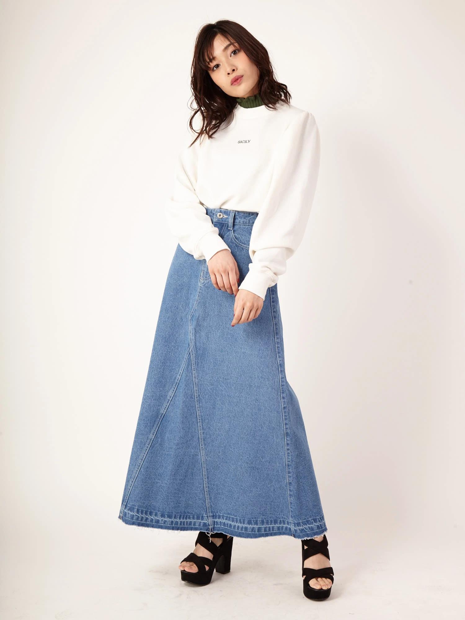 デニムワイドスカート
